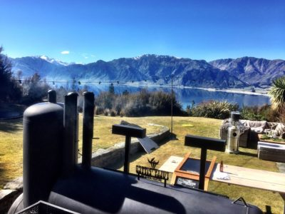 fully pitted barbecue lake hawea view